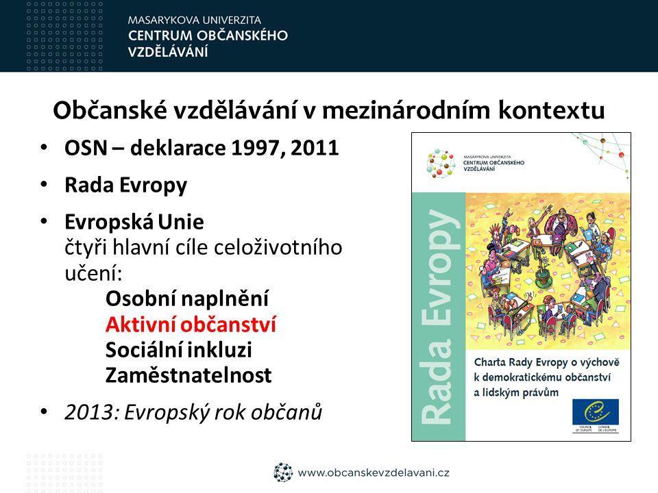 Občanské vzdělávání v mezinárodním kontextu OSN – deklarace 1997, 2011 Rada Evropy Evropská Unie čtyři hlavní cíle celoživotního učení: Osobní naplnění Aktivní občanství Sociální inkluzi Zaměstnatelnost 2013: Evropský rok občanů