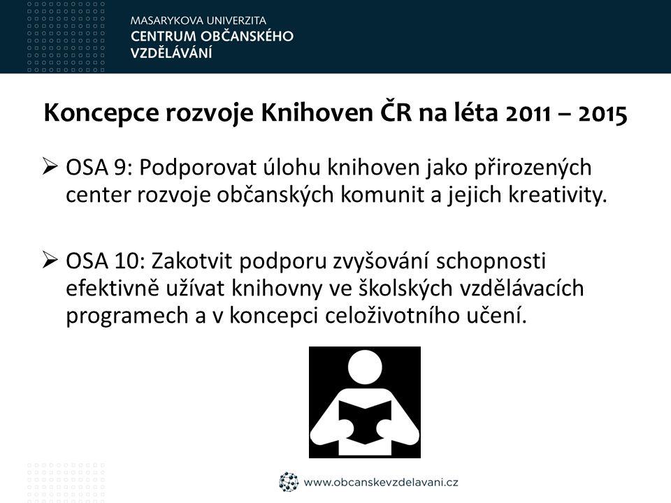 Koncepce rozvoje Knihoven ČR na léta 2011 – 2015  OSA 9: Podporovat úlohu knihoven jako přirozených center rozvoje občanských komunit a jejich kreativity.