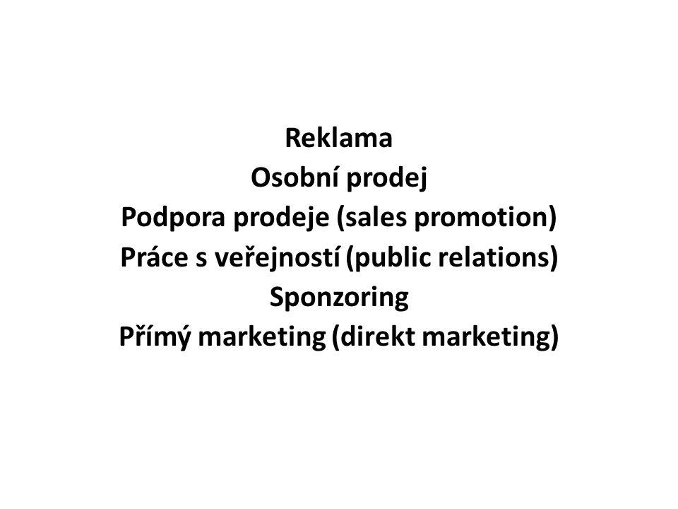 Reklama Osobní prodej Podpora prodeje (sales promotion) Práce s veřejností (public relations) Sponzoring Přímý marketing (direkt marketing)