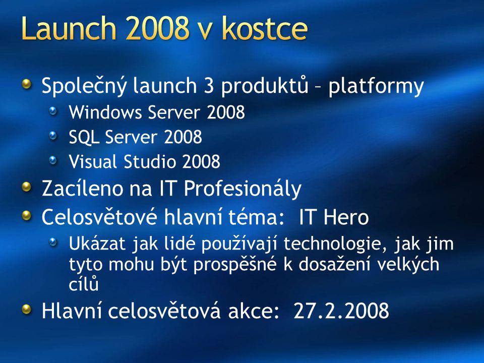 Společný launch 3 produktů – platformy Windows Server 2008 SQL Server 2008 Visual Studio 2008 Zacíleno na IT Profesionály Celosvětové hlavní téma: IT Hero Ukázat jak lidé používají technologie, jak jim tyto mohu být prospěšné k dosažení velkých cílů Hlavní celosvětová akce: 27.2.2008