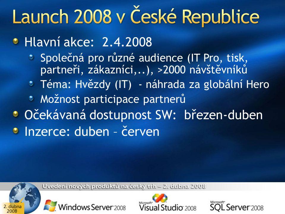 Hlavní akce: 2.4.2008 Společná pro různé audience (IT Pro, tisk, partneři, zákazníci,..), >2000 návštěvníků Téma: Hvězdy (IT) - náhrada za globální He