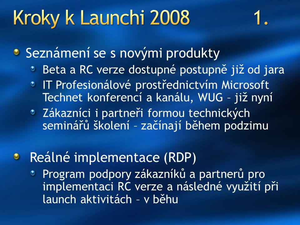 Seznámení se s novými produkty Beta a RC verze dostupné postupně již od jara IT Profesionálové prostřednictvím Microsoft Technet konferencí a kanálu, WUG – již nyní Zákazníci i partneři formou technických seminářů školení – začínají během podzimu Reálné implementace (RDP) Program podpory zákazníků a partnerů pro implementaci RC verze a následné využití při launch aktivitách – v běhu