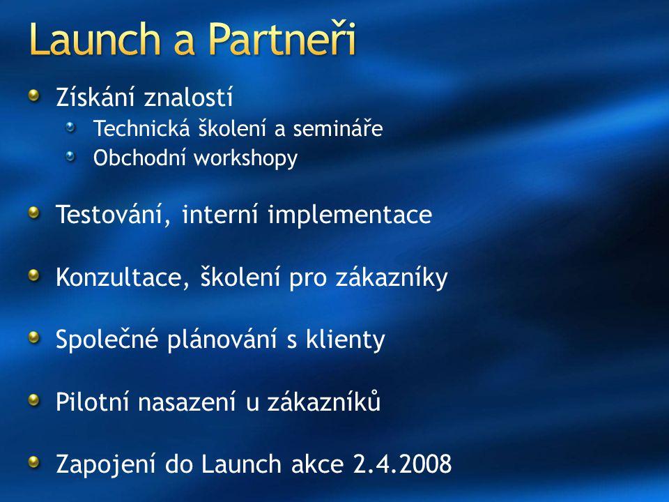 Získání znalostí Technická školení a semináře Obchodní workshopy Testování, interní implementace Konzultace, školení pro zákazníky Společné plánování s klienty Pilotní nasazení u zákazníků Zapojení do Launch akce 2.4.2008