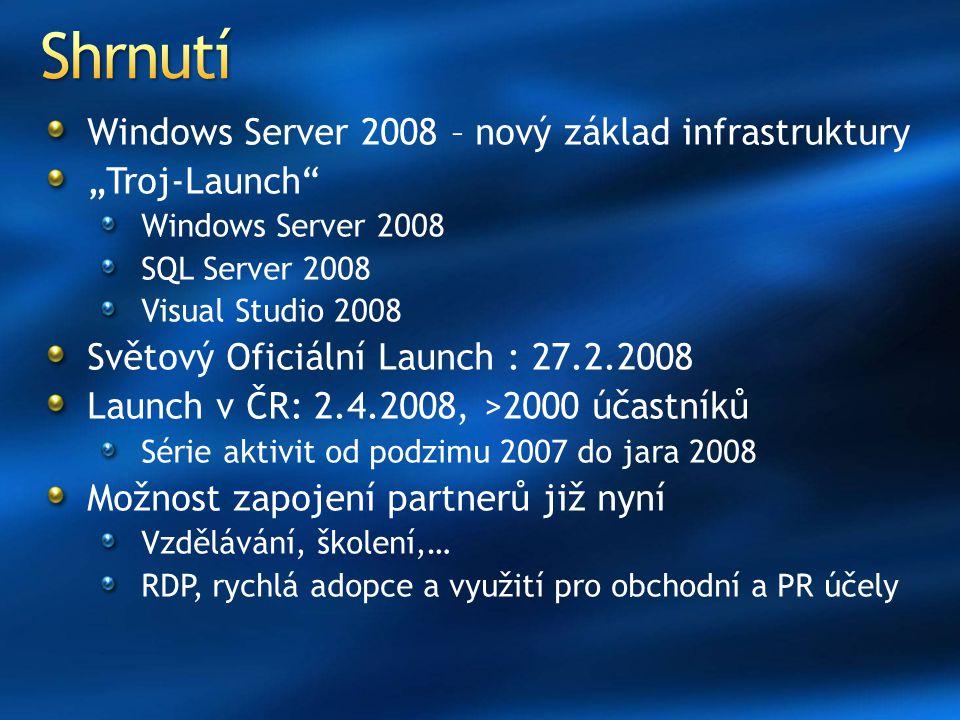 """Windows Server 2008 – nový základ infrastruktury """"Troj-Launch Windows Server 2008 SQL Server 2008 Visual Studio 2008 Světový Oficiální Launch : 27.2.2008 Launch v ČR: 2.4.2008, >2000 účastníků Série aktivit od podzimu 2007 do jara 2008 Možnost zapojení partnerů již nyní Vzdělávání, školení,… RDP, rychlá adopce a využití pro obchodní a PR účely"""