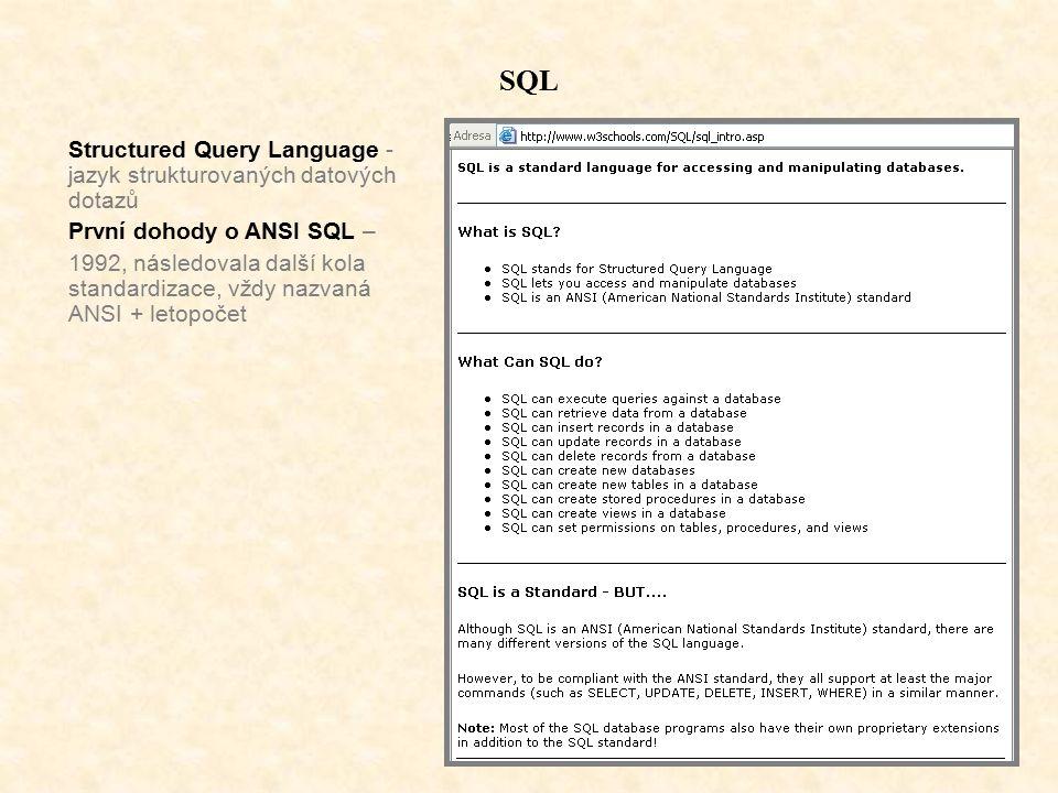 SQL Structured Query Language - jazyk strukturovaných datových dotazů První dohody o ANSI SQL – 1992, následovala další kola standardizace, vždy nazvaná ANSI + letopočet