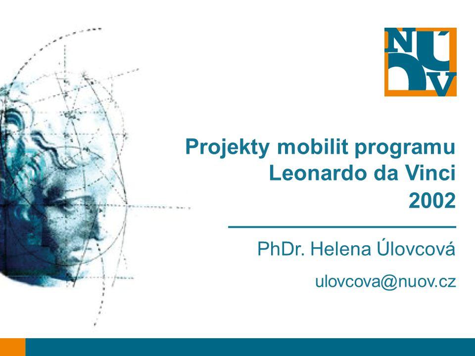 Projekty mobilit programu Leonardo da Vinci 2002 ___________________ PhDr. Helena Úlovcová ulovcova@nuov.cz