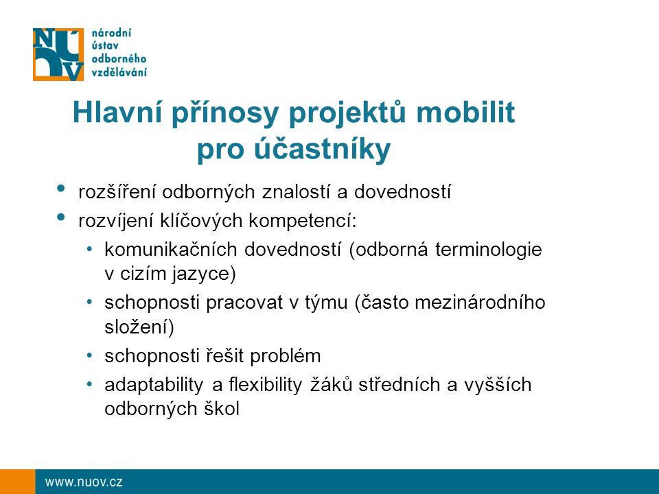 Hlavní přínosy projektů mobilit pro účastníky rozšíření odborných znalostí a dovedností rozvíjení klíčových kompetencí: komunikačních dovedností (odborná terminologie v cizím jazyce) schopnosti pracovat v týmu (často mezinárodního složení) schopnosti řešit problém adaptability a flexibility žáků středních a vyšších odborných škol