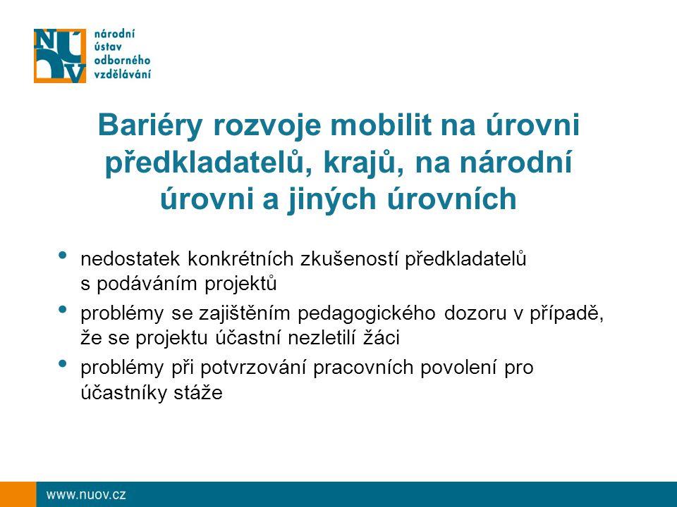 Bariéry rozvoje mobilit na úrovni předkladatelů, krajů, na národní úrovni a jiných úrovních nedostatek konkrétních zkušeností předkladatelů s podávání