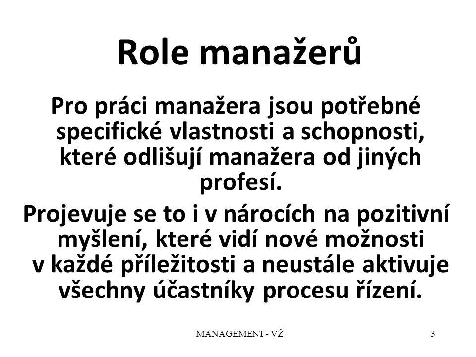MANAGEMENT - VŽ3 Role manažerů Pro práci manažera jsou potřebné specifické vlastnosti a schopnosti, které odlišují manažera od jiných profesí.