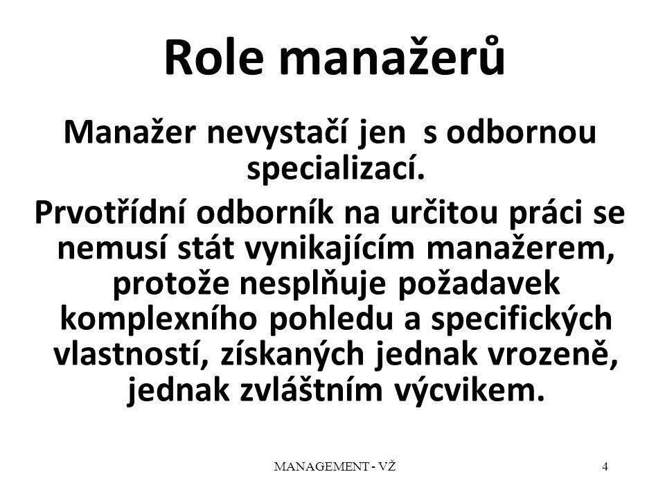 MANAGEMENT - VŽ4 Role manažerů Manažer nevystačí jen s odbornou specializací.