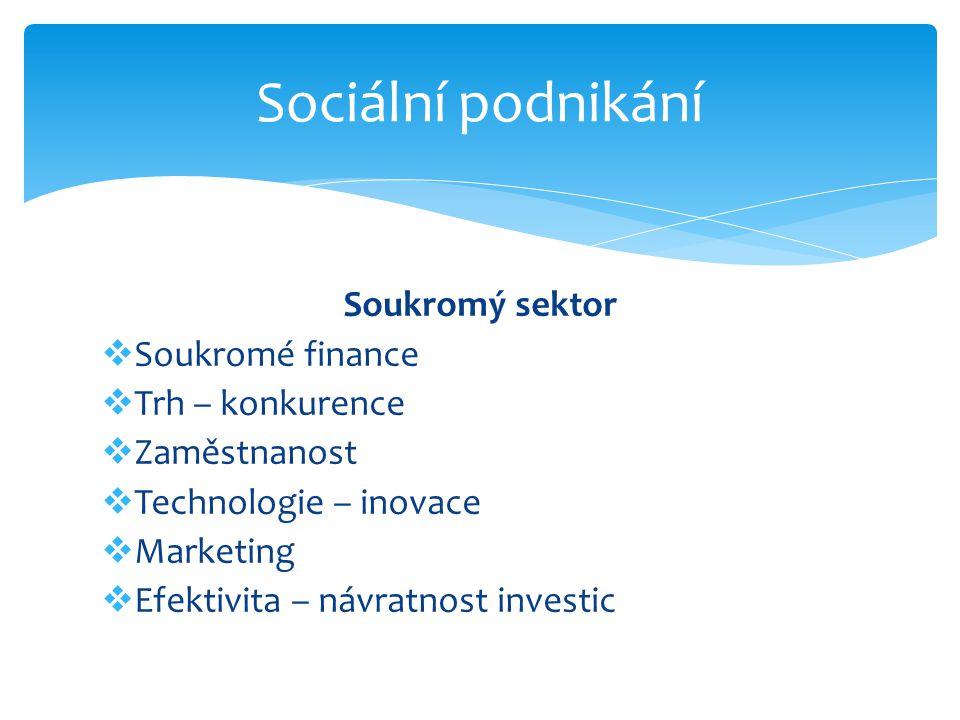 Soukromý sektor  Soukromé finance  Trh – konkurence  Zaměstnanost  Technologie – inovace  Marketing  Efektivita – návratnost investic Sociální podnikání