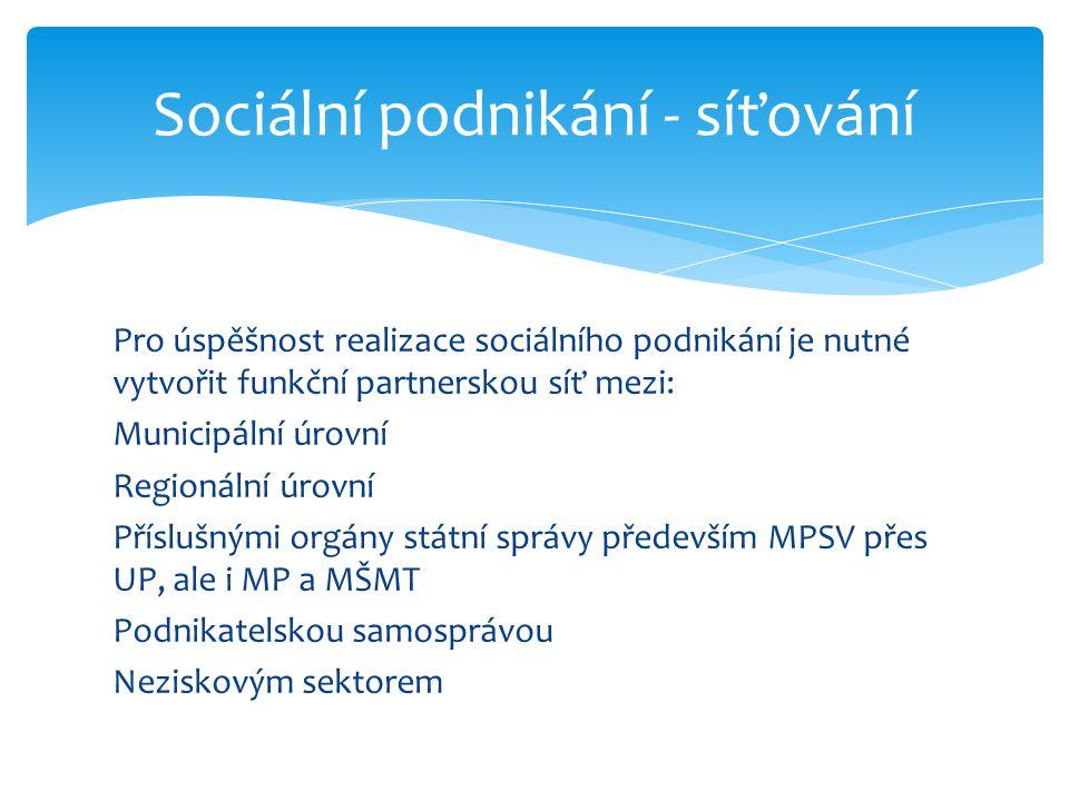 Pro úspěšnost realizace sociálního podnikání je nutné vytvořit funkční partnerskou síť mezi: Municipální úrovní Regionální úrovní Příslušnými orgány státní správy především MPSV přes UP, ale i MP a MŠMT Podnikatelskou samosprávou Neziskovým sektorem Sociální podnikání - síťování