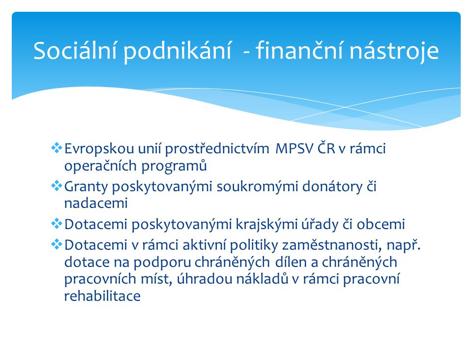  Evropskou unií prostřednictvím MPSV ČR v rámci operačních programů  Granty poskytovanými soukromými donátory či nadacemi  Dotacemi poskytovanými krajskými úřady či obcemi  Dotacemi v rámci aktivní politiky zaměstnanosti, např.