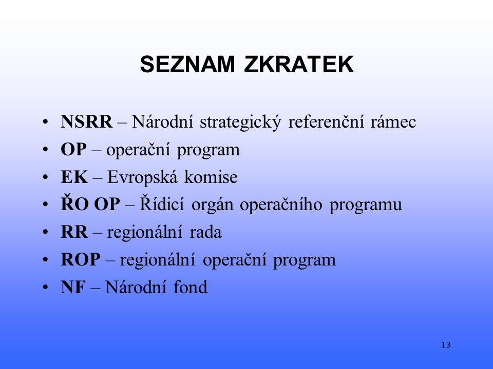 13 SEZNAM ZKRATEK NSRR – Národní strategický referenční rámec OP – operační program EK – Evropská komise ŘO OP – Řídicí orgán operačního programu RR – regionální rada ROP – regionální operační program NF – Národní fond