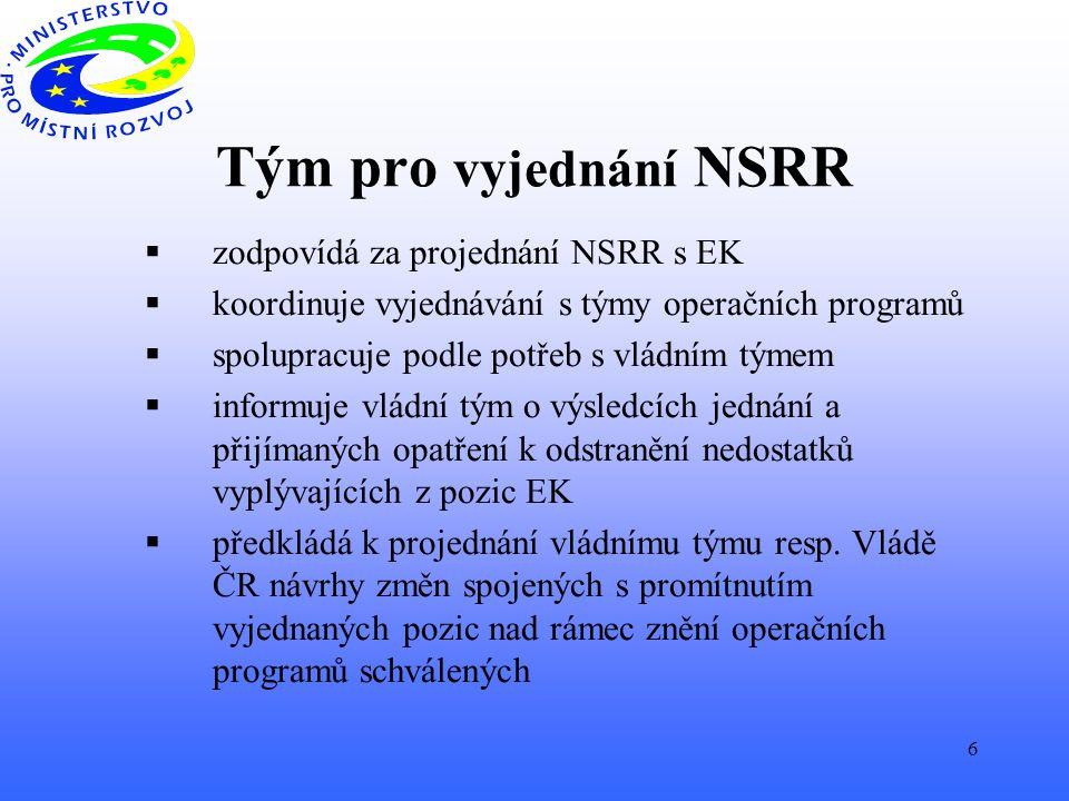 6 Tým pro vyjednání NSRR  zodpovídá za projednání NSRR s EK  koordinuje vyjednávání s týmy operačních programů  spolupracuje podle potřeb s vládním týmem  informuje vládní tým o výsledcích jednání a přijímaných opatření k odstranění nedostatků vyplývajících z pozic EK  předkládá k projednání vládnímu týmu resp.
