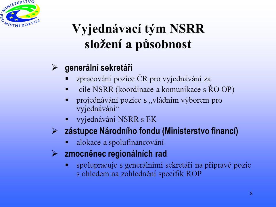 """8 Vyjednávací tým NSRR složení a působnost  generální sekretáři  zpracování pozice ČR pro vyjednávání za  cíle NSRR (koordinace a komunikace s ŘO OP)  projednávání pozice s """"vládním výborem pro vyjednávání  vyjednávání NSRR s EK  zástupce Národního fondu (Ministerstvo financí)  alokace a spolufinancování  zmocněnec regionálních rad  spolupracuje s generálními sekretáři na přípravě pozic s ohledem na zohlednění specifik ROP"""