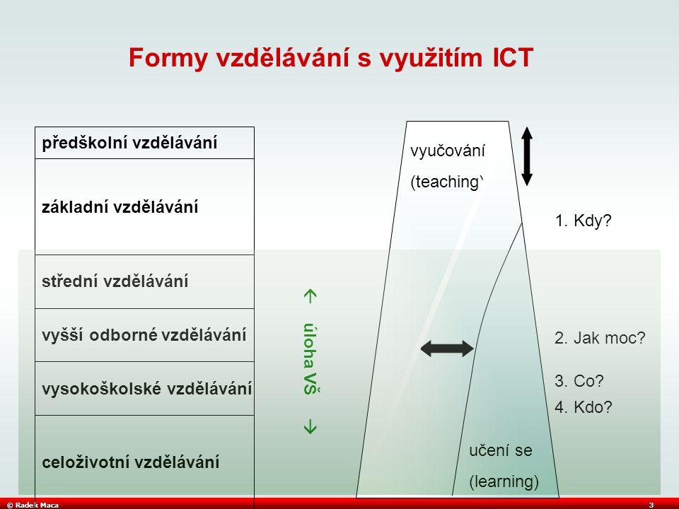 © Radek Maca3 Formy vzdělávání s využitím ICT předškolní vzdělávání základní vzdělávání střední vzdělávání vyšší odborné vzdělávání vysokoškolské vzdělávání celoživotní vzdělávání vyučování (teaching) učení se (learning) 1.