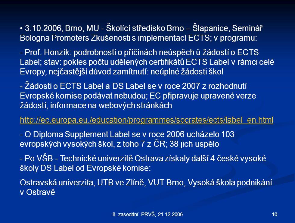 108. zasedání PRVŠ, 21.12.2006 3.10.2006, Brno, MU - Školící středisko Brno – Šlapanice, Seminář Bologna Promoters Zkušenosti s implementací ECTS; v p