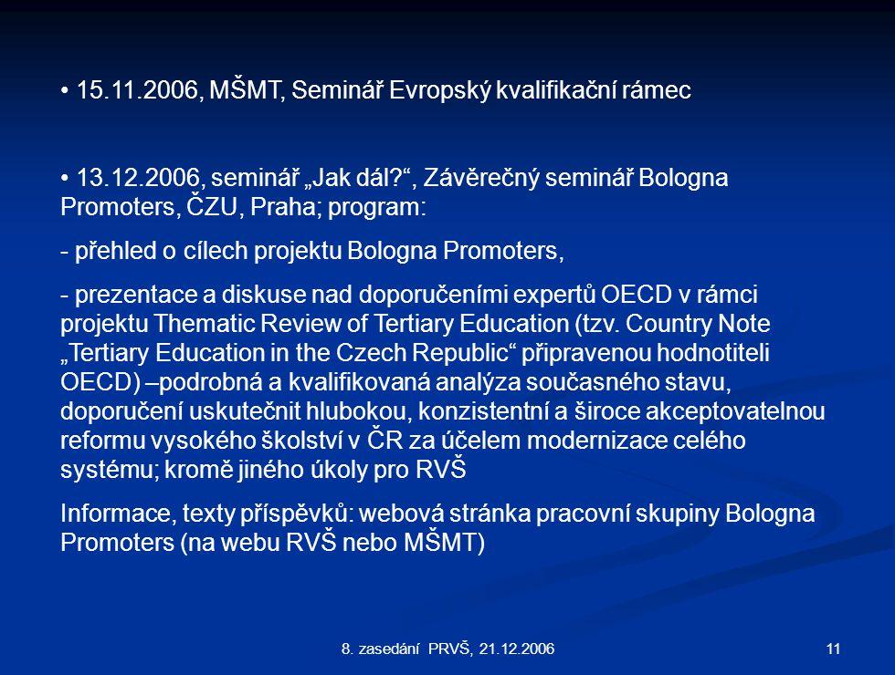 """118. zasedání PRVŠ, 21.12.2006 15.11.2006, MŠMT, Seminář Evropský kvalifikační rámec 13.12.2006, seminář """"Jak dál?"""", Závěrečný seminář Bologna Promote"""