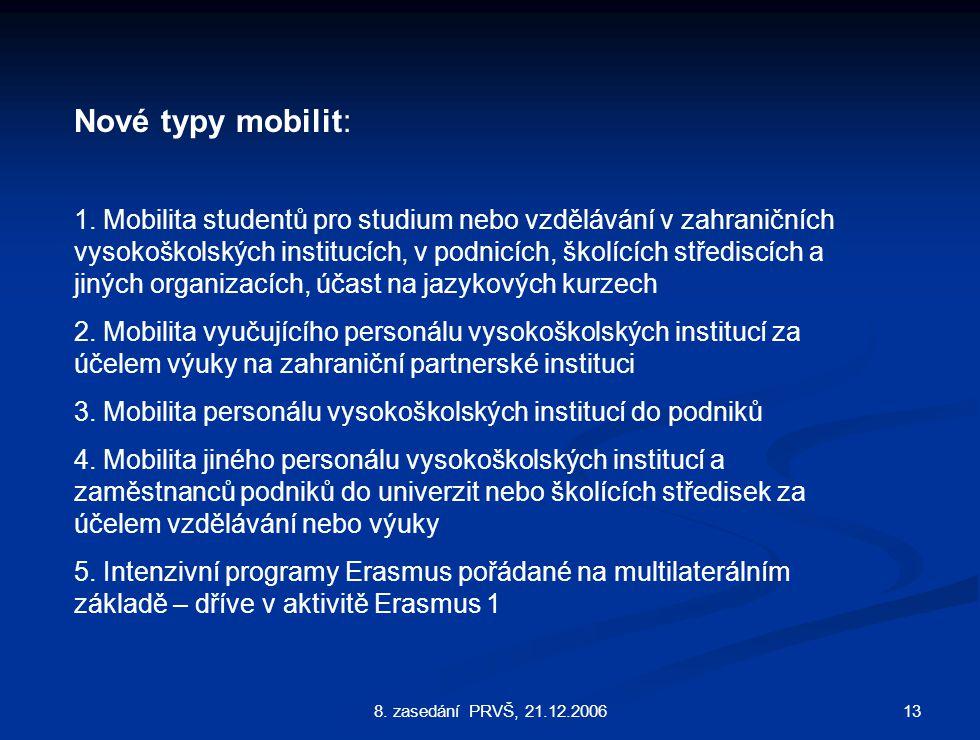 138. zasedání PRVŠ, 21.12.2006 Nové typy mobilit: 1.