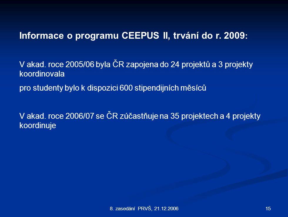 158. zasedání PRVŠ, 21.12.2006 Informace o programu CEEPUS II, trvání do r.