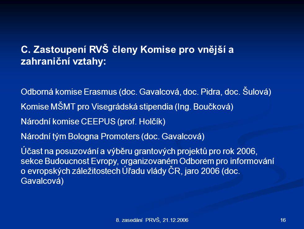 168. zasedání PRVŠ, 21.12.2006 C.