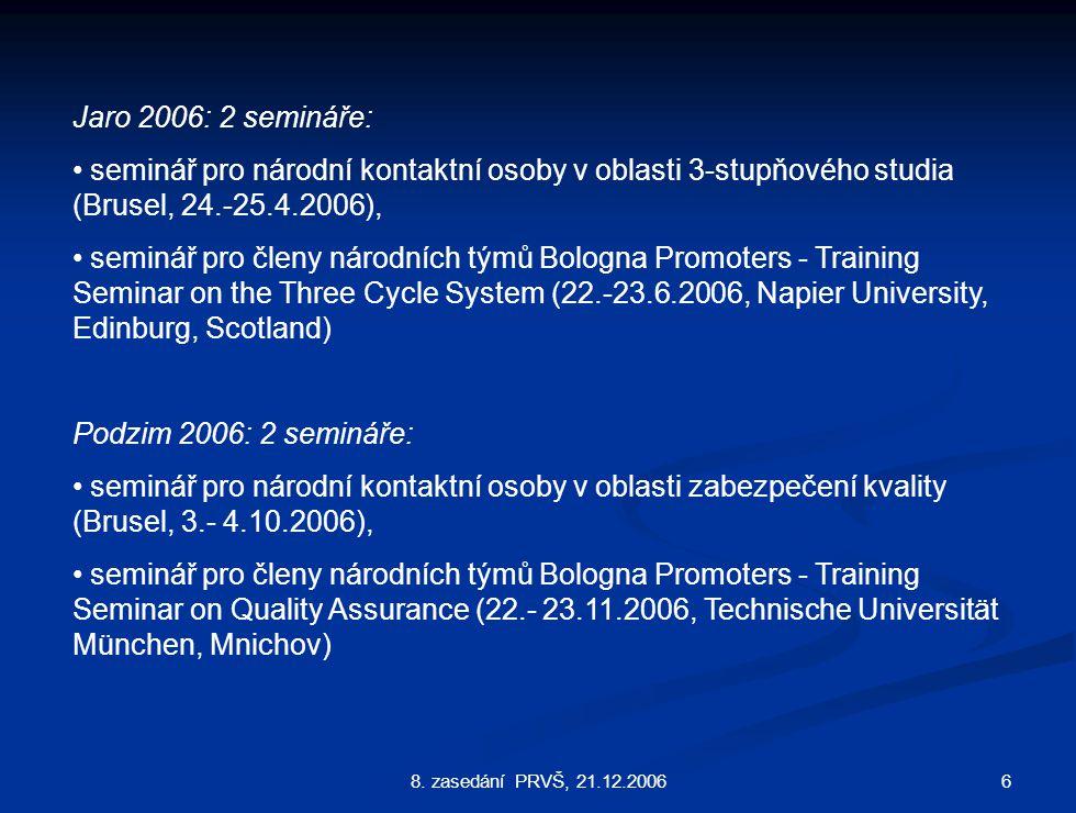 68. zasedání PRVŠ, 21.12.2006 Jaro 2006: 2 semináře: seminář pro národní kontaktní osoby v oblasti 3-stupňového studia (Brusel, 24.-25.4.2006), seminá