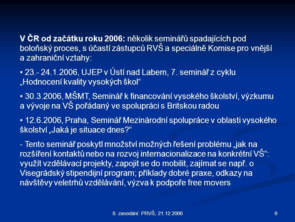 98. zasedání PRVŠ, 21.12.2006 V ČR od začátku roku 2006: několik seminářů spadajících pod boloňský proces, s účastí zástupců RVŠ a speciálně Komise pr
