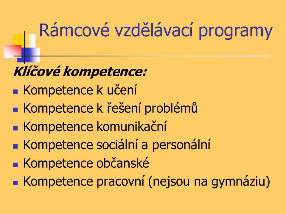 Rámcové vzdělávací programy Klíčové kompetence: Kompetence k učení Kompetence k řešení problémů Kompetence komunikační Kompetence sociální a personální Kompetence občanské Kompetence pracovní (nejsou na gymnáziu)
