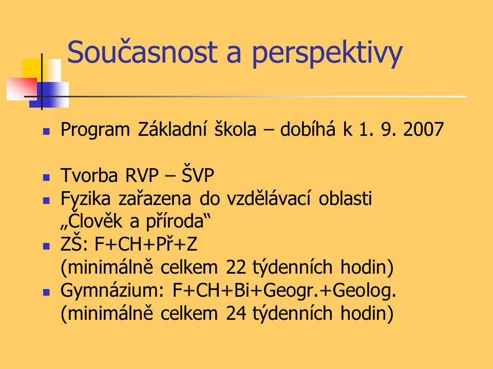 Současnost a perspektivy Program Základní škola – dobíhá k 1.