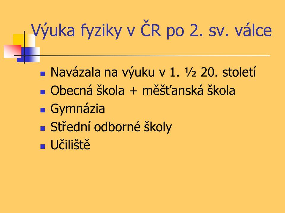 Výuka fyziky v ČR po 2. sv. válce Navázala na výuku v 1.