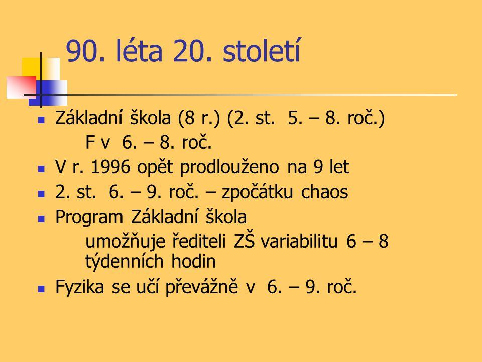 90. léta 20. století Základní škola (8 r.) (2. st.