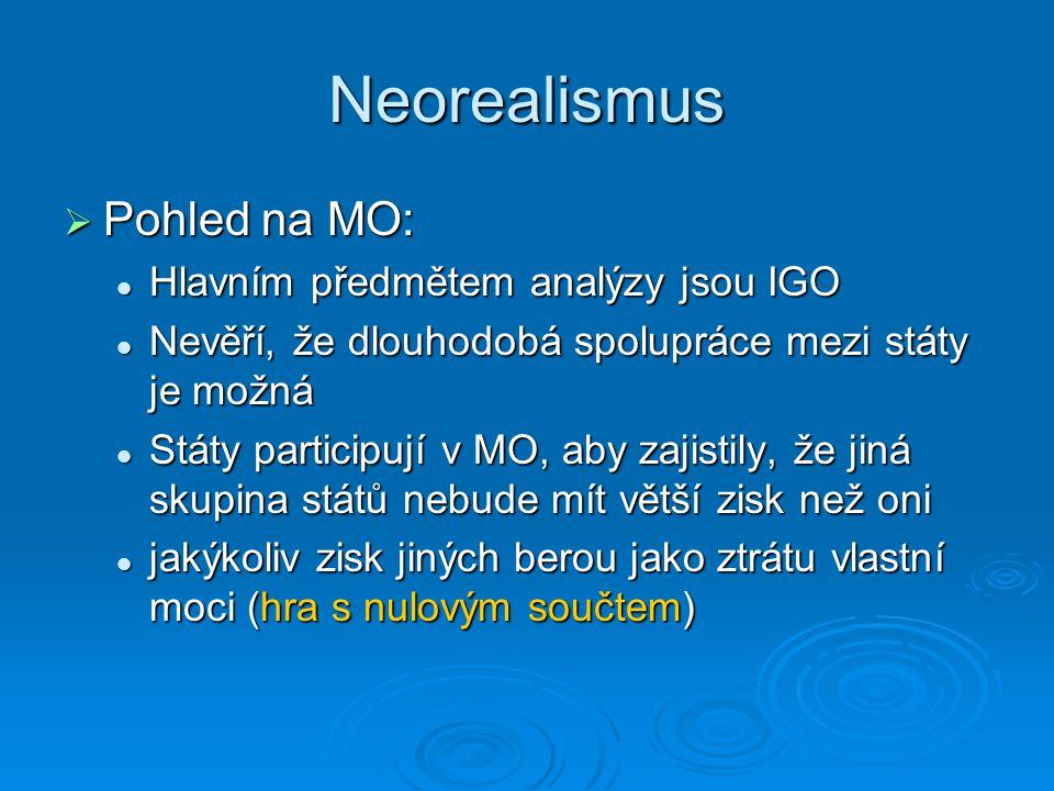 Neorealismus  Pohled na MO: Hlavním předmětem analýzy jsou IGO Hlavním předmětem analýzy jsou IGO Nevěří, že dlouhodobá spolupráce mezi státy je možn