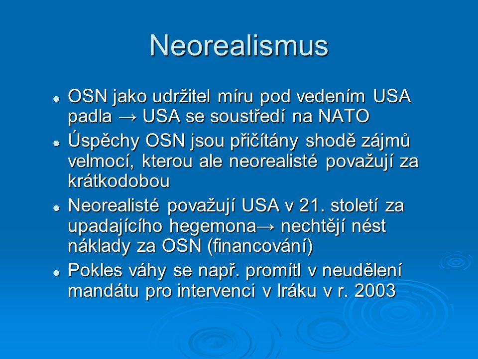Neorealismus OSN jako udržitel míru pod vedením USA padla → USA se soustředí na NATO OSN jako udržitel míru pod vedením USA padla → USA se soustředí n