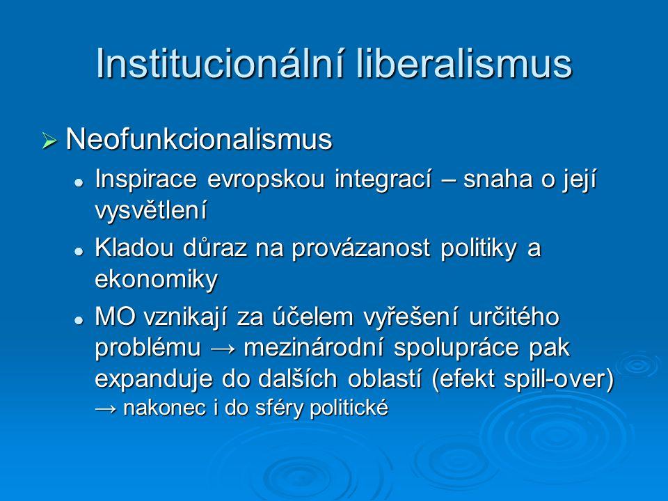 Institucionální liberalismus  Neofunkcionalismus Inspirace evropskou integrací – snaha o její vysvětlení Inspirace evropskou integrací – snaha o její