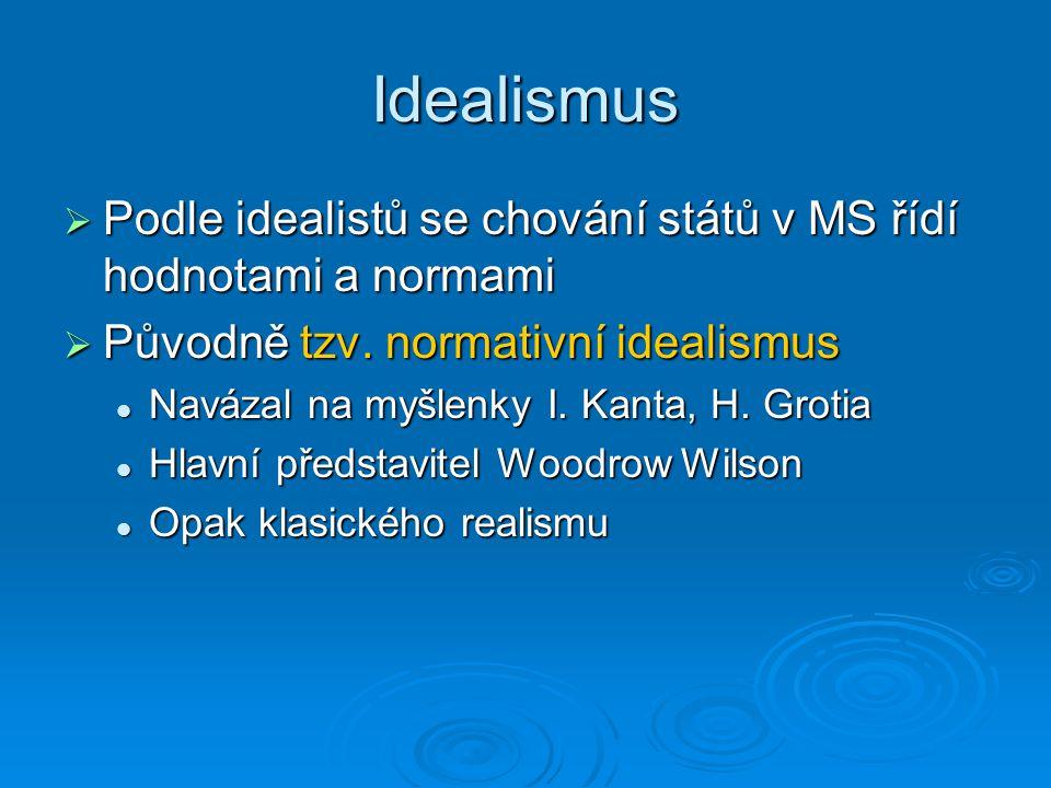 Idealismus  Podle idealistů se chování států v MS řídí hodnotami a normami  Původně tzv. normativní idealismus Navázal na myšlenky I. Kanta, H. Grot