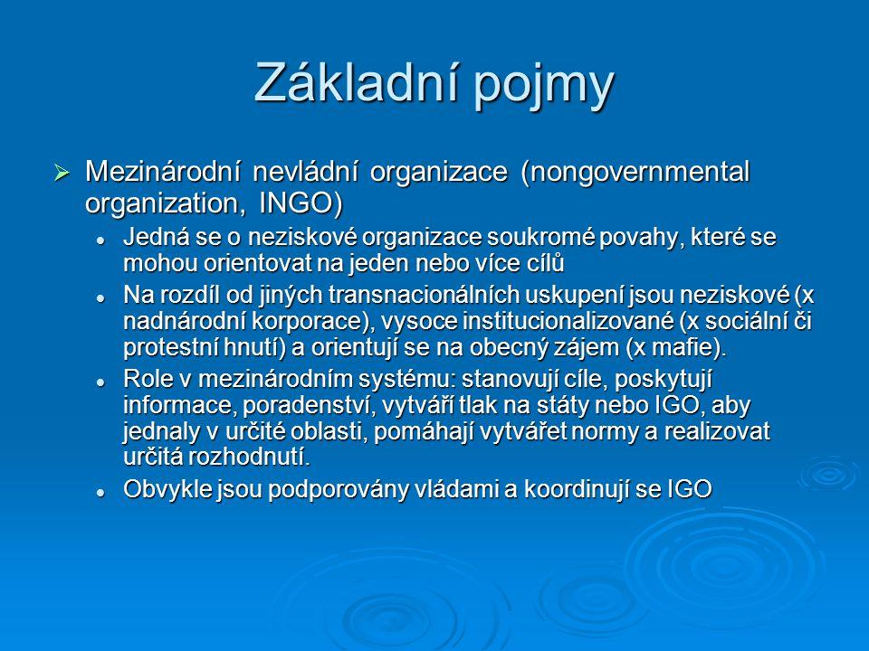 Základní pojmy  Mezinárodní nevládní organizace (nongovernmental organization, INGO) Jedná se o neziskové organizace soukromé povahy, které se mohou
