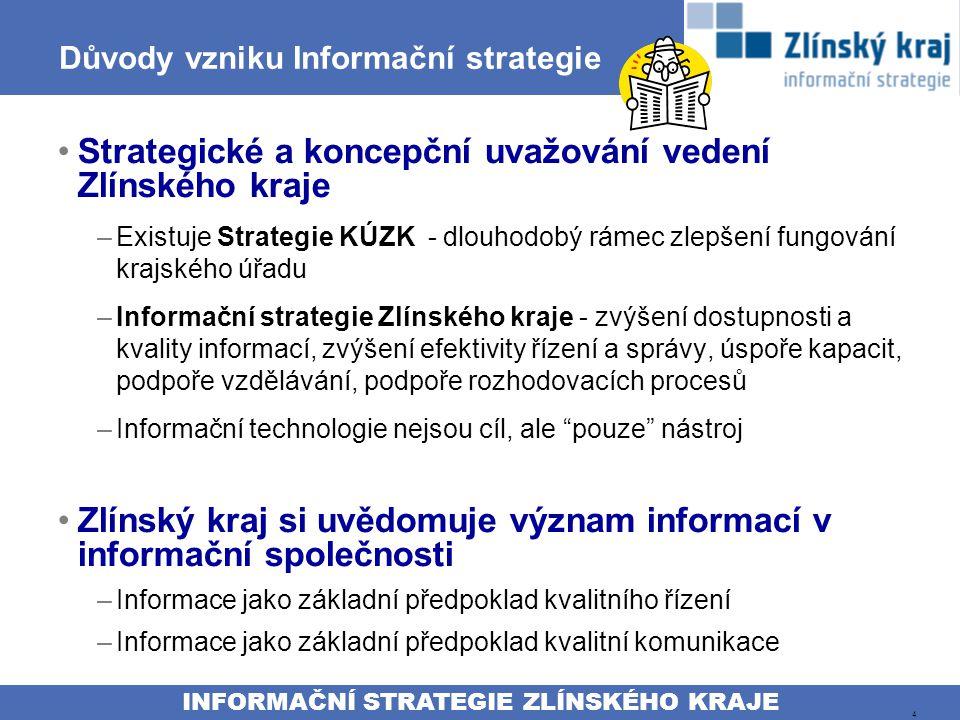 INFORMAČNÍ STRATEGIE ZLÍNSKÉHO KRAJE 4 Důvody vzniku Informační strategie Strategické a koncepční uvažování vedení Zlínského kraje –Existuje Strategie KÚZK - dlouhodobý rámec zlepšení fungování krajského úřadu –Informační strategie Zlínského kraje - zvýšení dostupnosti a kvality informací, zvýšení efektivity řízení a správy, úspoře kapacit, podpoře vzdělávání, podpoře rozhodovacích procesů –Informační technologie nejsou cíl, ale pouze nástroj Zlínský kraj si uvědomuje význam informací v informační společnosti –Informace jako základní předpoklad kvalitního řízení –Informace jako základní předpoklad kvalitní komunikace