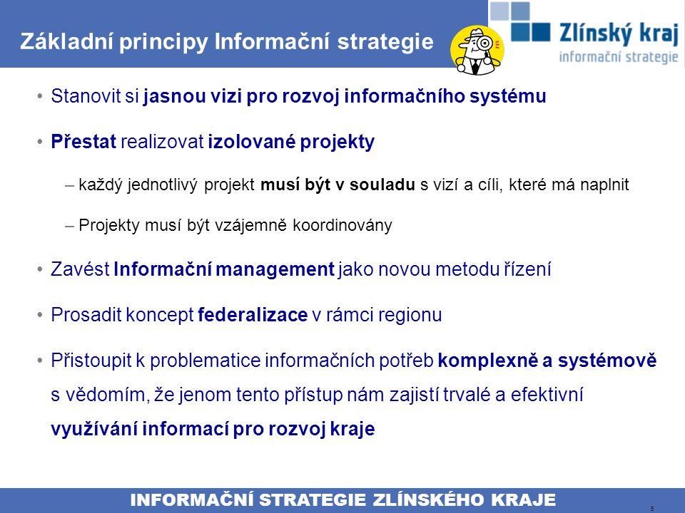 INFORMAČNÍ STRATEGIE ZLÍNSKÉHO KRAJE 5 Základní principy Informační strategie Stanovit si jasnou vizi pro rozvoj informačního systému Přestat realizovat izolované projekty –každý jednotlivý projekt musí být v souladu s vizí a cíli, které má naplnit –Projekty musí být vzájemně koordinovány Zavést Informační management jako novou metodu řízení Prosadit koncept federalizace v rámci regionu Přistoupit k problematice informačních potřeb komplexně a systémově s vědomím, že jenom tento přístup nám zajistí trvalé a efektivní využívání informací pro rozvoj kraje
