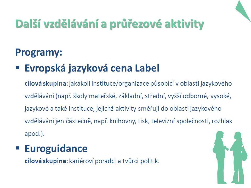 Další vzdělávání a průřezové aktivity Programy:  Evropská jazyková cena Label cílová skupina: jakákoli instituce/organizace působící v oblasti jazykového vzdělávání (např.