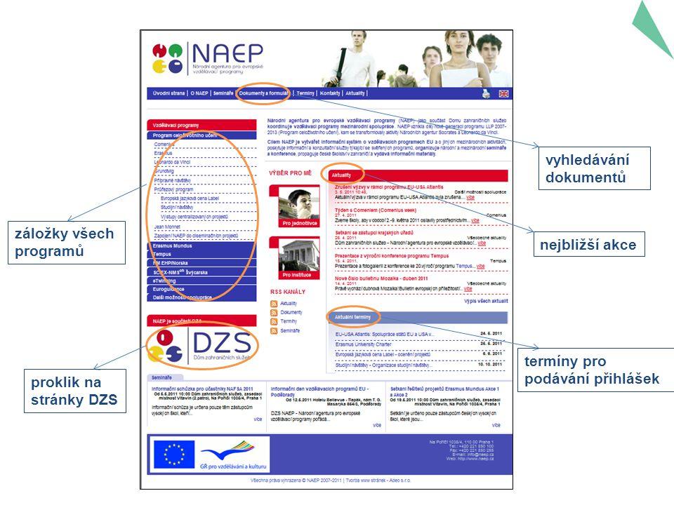 vyhledávání dokumentů záložky všech programů nejbližší akce proklik na stránky DZS termíny pro podávání přihlášek