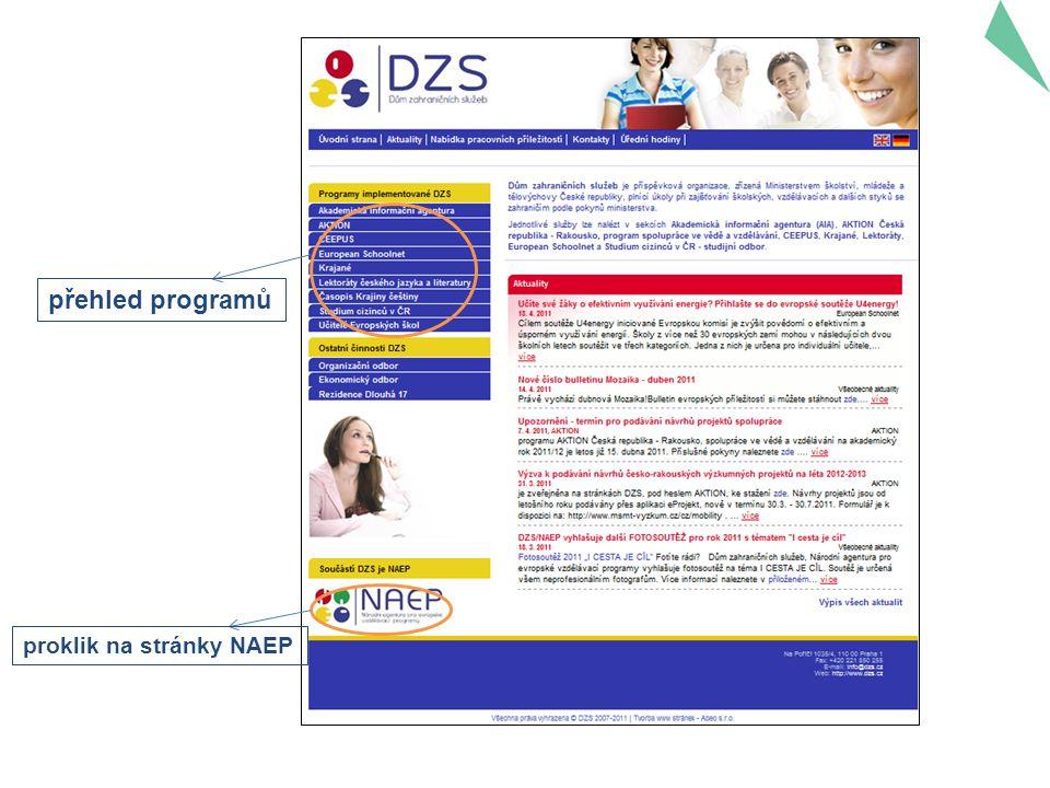 přehled programů proklik na stránky NAEP