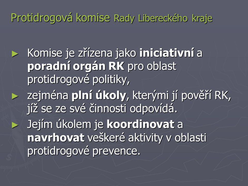 Protidrogová komise Rady Libereckého kraje ► Komise je zřízena jako iniciativní a poradní orgán RK pro oblast protidrogové politiky, ► zejména plní úkoly, kterými jí pověří RK, jíž se ze své činnosti odpovídá.