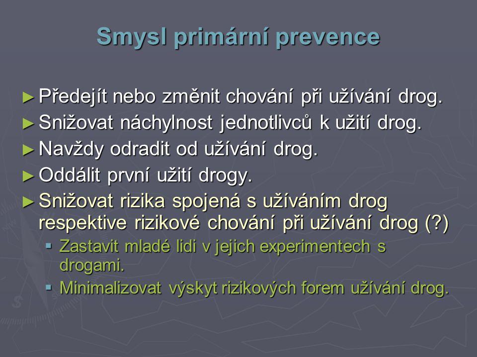 Smysl primární prevence ► Předejít nebo změnit chování při užívání drog.