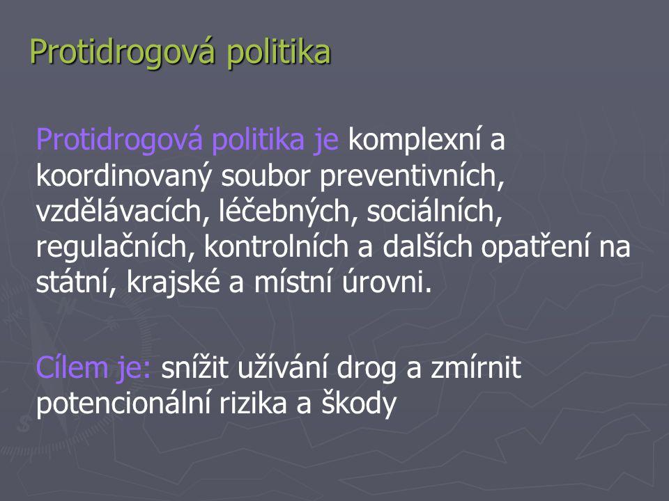 Protidrogová politika Protidrogová politika je komplexní a koordinovaný soubor preventivních, vzdělávacích, léčebných, sociálních, regulačních, kontrolních a dalších opatření na státní, krajské a místní úrovni.