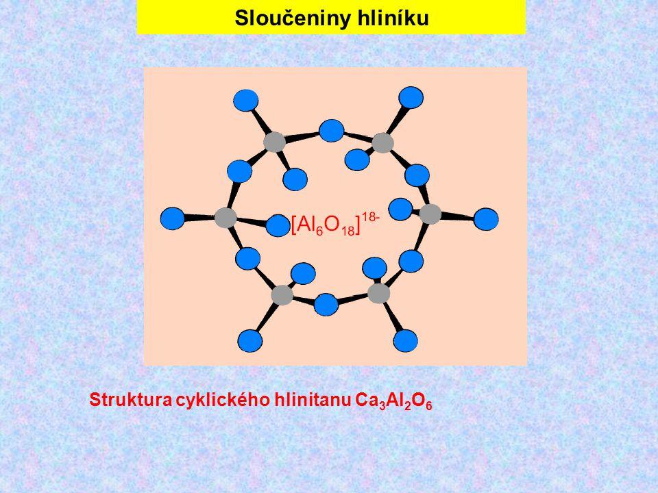 Sloučeniny hliníku Struktura cyklického hlinitanu Ca 3 Al 2 O 6