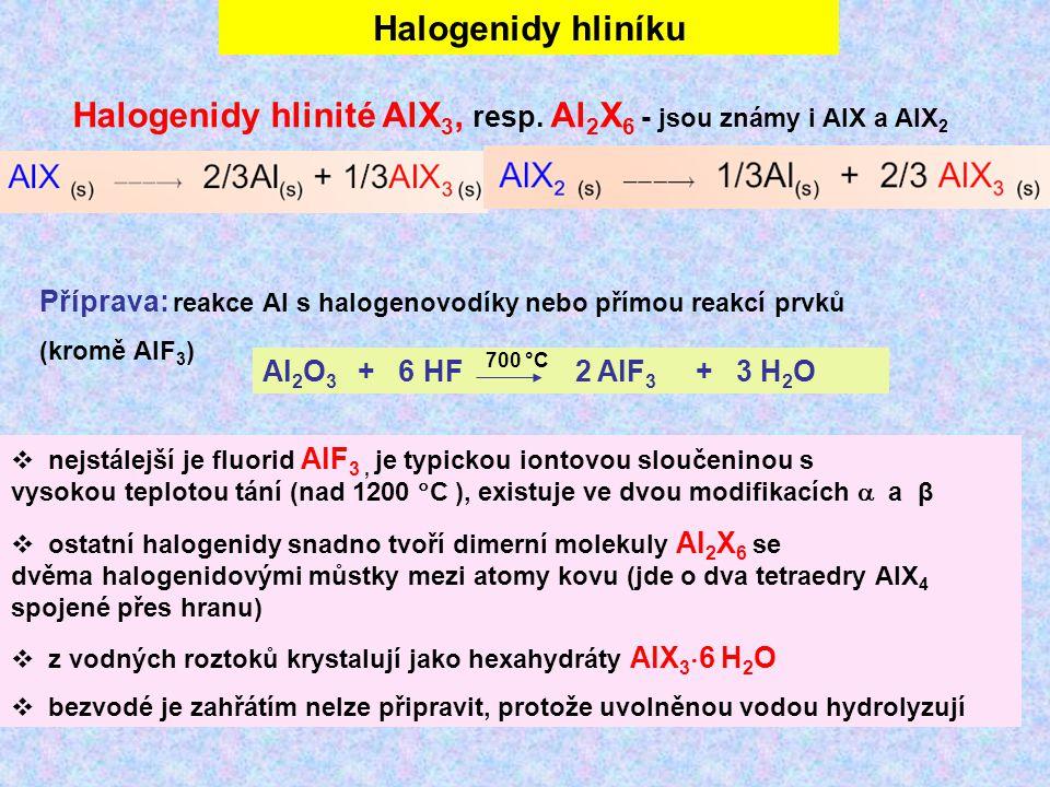 Halogenidy hliníku Halogenidy hlinité AlX 3, resp. Al 2 X 6 - jsou známy i AlX a AlX 2 Příprava: reakce Al s halogenovodíky nebo přímou reakcí prvků (