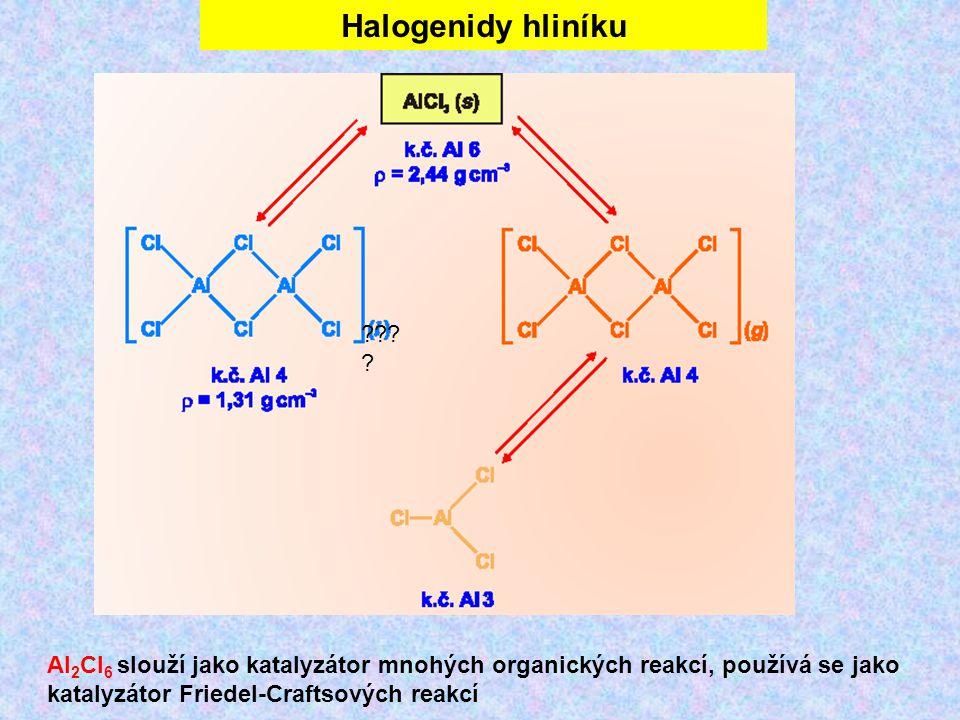 Halogenidy hliníku ??? ? Al 2 Cl 6 slouží jako katalyzátor mnohých organických reakcí, používá se jako katalyzátor Friedel-Craftsových reakcí