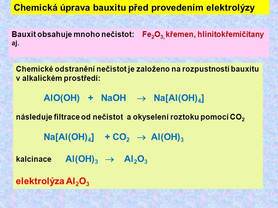 Chemická úprava bauxitu před provedením elektrolýzy Bauxit obsahuje mnoho nečistot: Fe 2 O 3, křemen, hlinitokřemičitany aj. Chemické odstranění nečis