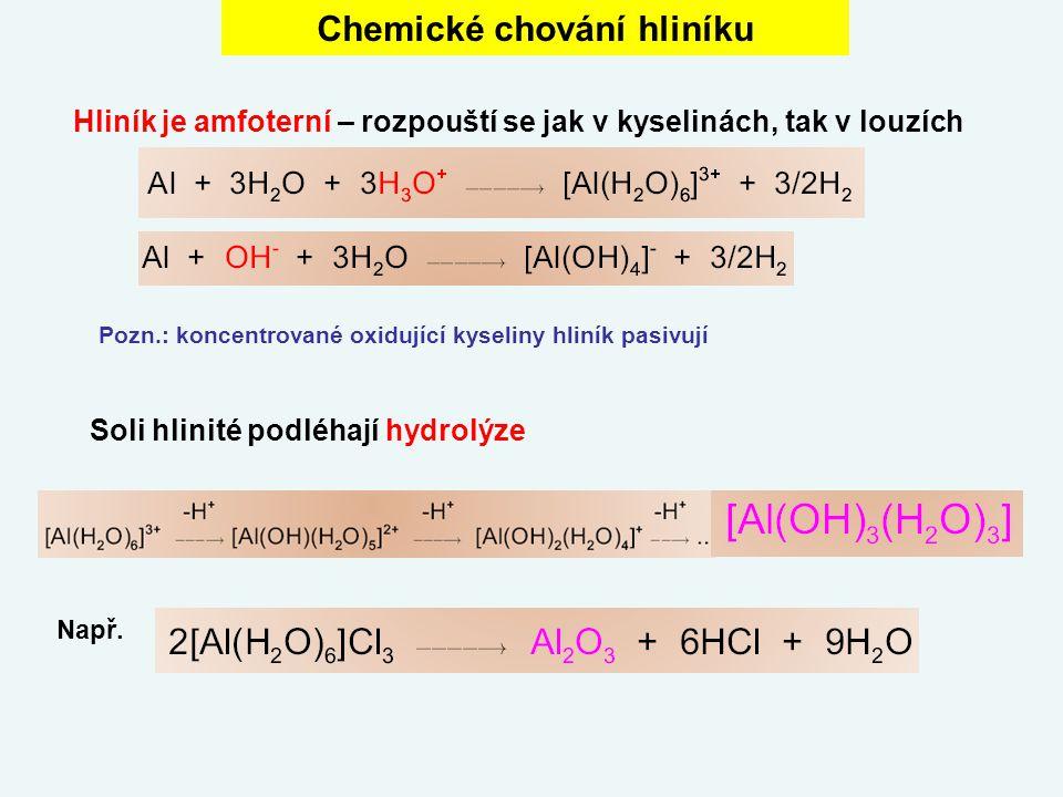 Chemické chování hliníku Hliník je amfoterní – rozpouští se jak v kyselinách, tak v louzích Soli hlinité podléhají hydrolýze Např. Pozn.: koncentrovan
